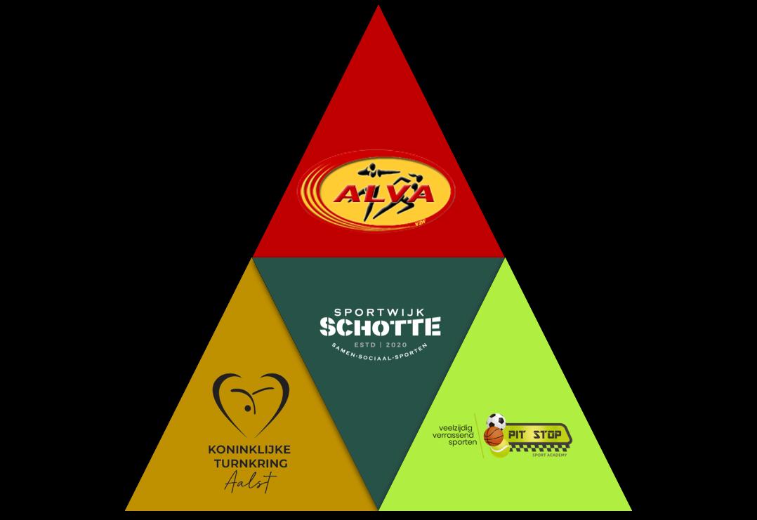 Visuele voorstelling van het organigram van Sportwijk Schotte (driehoek)